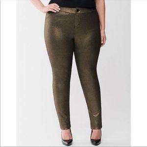 Lane Bryant Gold Black Shimmer Pants 24